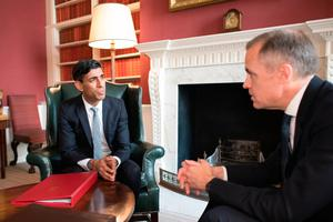 Chancellor Rishi Sunak (left) meeting with the Governor of the Bank of England Mark Carney in Downing Street