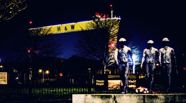 The Harland and Wolff cranes are decorated for Christmas