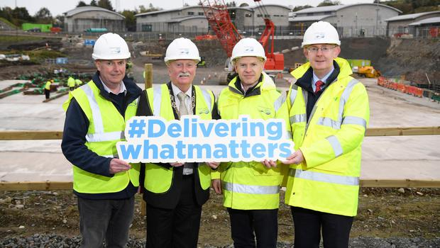 From left: NI Water's Maurice McEvoy, Charlie Casey, chairman of Newry, Mourne and Down District Council, Mark Richardson and Paul Davison, both NI Water