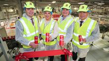 Miles Karemacher, general manager of Coca Cola HBC Ireland and Northern Ireland, deputy First Minister Michelle O'Neill, First Minister Arlene Foster and Marcel Martin, group supply chain director, Coca Cola HBC