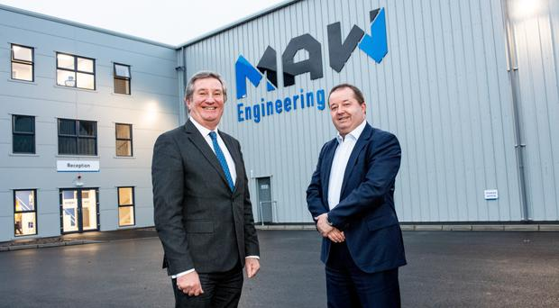 Bill Montgomery (left), advanced manufacturing and engineering director at Invest NI, with Mark Cuskeran, managing director of MAW Engineering