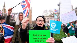 Farewell: Brexit supporters bid goodbye to the EU