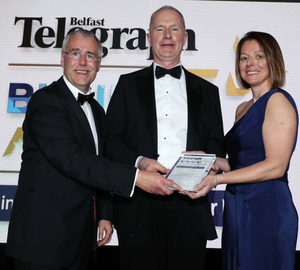 The Lifetime Achievement Award is presented to Devenish Nutrition's Owen Brennan by Richard Donnan from Ulster Bank, and Sarah Little