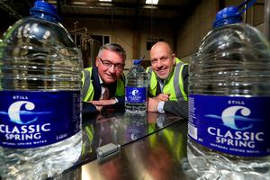 Liam Duffy (left), CEO and owner of Classic Mineral Water, and John Hood, director of Food & Drink, Invest NI