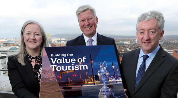 Aine Kearney, director of business support and events, Martin Slumbers, chief executive of R&A and John McGrillen, chief executive of Tourism NI