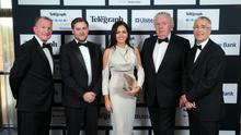 Richard McClean, Conleth McConville, Naoimh McConville, Brian McConville and Richard Donnan, Ulster Bank pictured at the Business Awards.