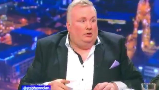 A shocked Stephen Nolan looks on as the protester who calls himself Dr AC Activism disrupted his show on Wednesday night