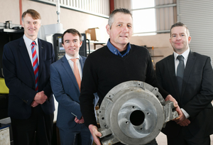 From left, William McCulla of Invest NI, Barry Connolly from UCIT, David Gill of Clogher Valley Precision, and Michael Carlin, NI Small Business Loan Fund manager with Enterprise Northern Ireland