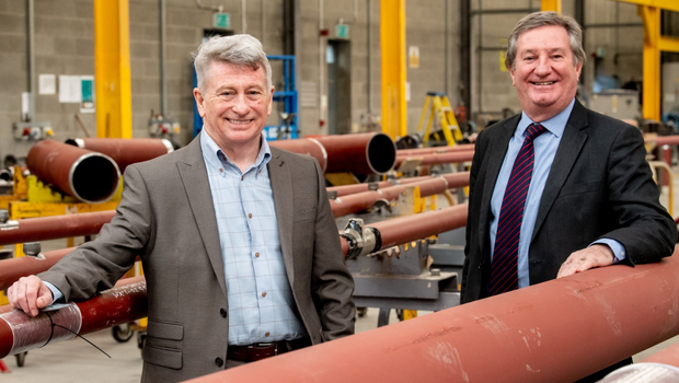 Seamus Mellon (left), managing director of Gallagher and McKinney, with Bill Montgomery, Invest NI's director of advanced manufacturing and engineering
