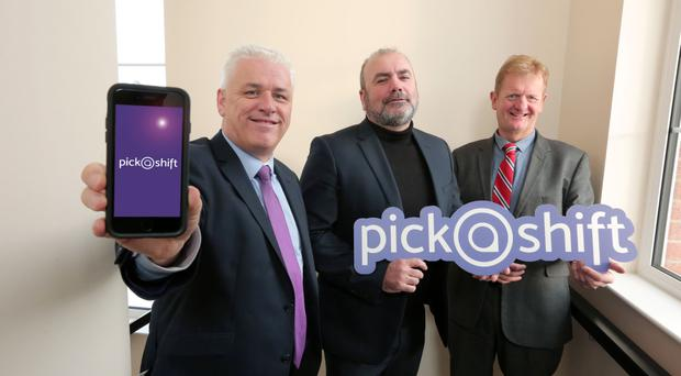 PickaShift founders Fearghal McKinney, Liam Lavery and Peter Graham