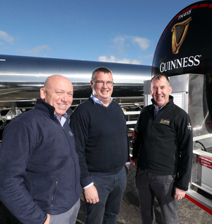 Ray Andrews, operations director of AGL; Stephen McFerran, business manager at Crossland Tankers, and Diageo Ireland's logistics manager Colm Hughes