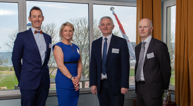 Colum McLornan and Claire Hunter of the Marine Hotel in Ballycastle with Stephen Comer and Brian Gillan from First Trust Bank