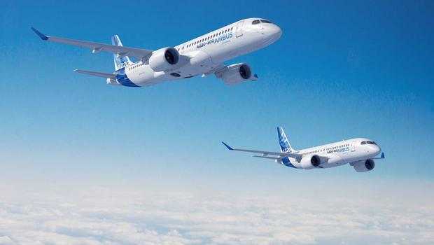 Airbus A220-100 and A220-300 craft in flight