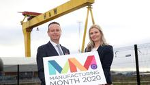 Manufacturing NI chief executive and deputy chief executive Stephen Kelly and Mary Meehan
