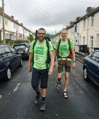 Eamonn Donnelly and Sepp Tieber leaving Dover for the next leg of The Long Walk Home