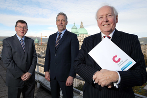 From left, Alan Bridle and Gavin Kennedy, Bank of Ireland UK, and Bob Barbour, Centre for Competitiveness