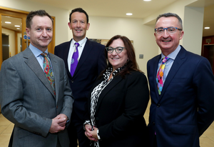 Peter with fellow partners Mike Brown, Vivienne Williams and Gavin Campbell following BLM's move to new headquarters at Dublin's St Stephen's Green House in 2017