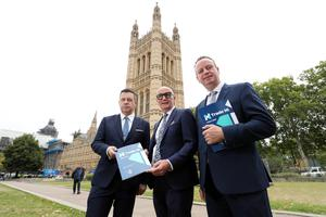 Trade NI leadership team at Westminster, London, (from left) Glyn Roberts, chief executive, Retail NI; Colin Neill, chief executive, Hospitality Ulster; and Stephen Kelly, chief executive, Manufacturing NI