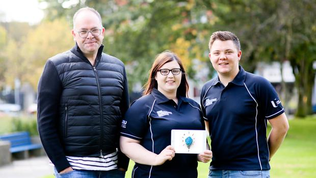 Tim Brundle, director of research and impact at Ulster University, Naomi Browne, student enterprise co-ordinator and Chris Shannon, student enterprise and entrepreneurship manager