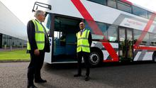 Wrightbus Chief Executive Buta Atwal and Secretary of State for Northern Ireland Brandon Lewis