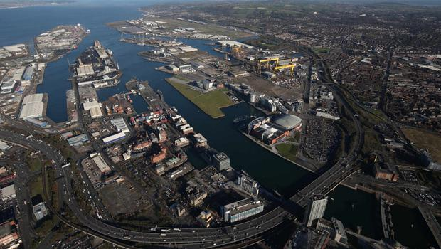 An aerial view of Belfast Harbour