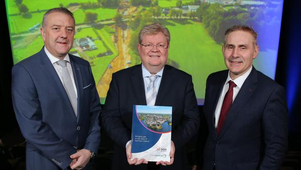 CBI NI's Trevor Lockhart, Danny O'Malley of SGN Natural Gas and Paddy Larkin from Mutual Energy mark end of the project