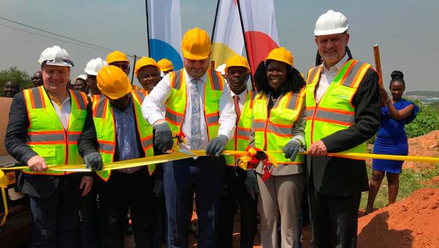 Lagan Group officials and government officials cutting the ribbon at Kampala Industrial Park at Namanve in central Uganda