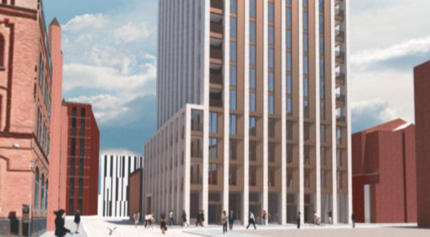 Artist's impression of the 16-storey apartment building planned for Academy Street