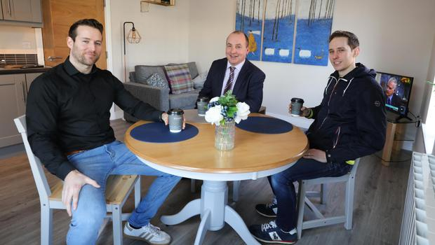 Charles (left) and James Small (right) with Derick Wilson, business development manager at Ulster Bank