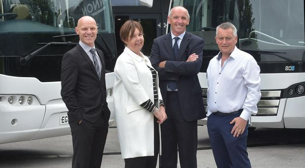 Steve Thornton of the Stena Line Belfast Giants, Judith Harvey of the Odyssey Trust, Neil Walker of the SSE Arena and Aodh Hannon
