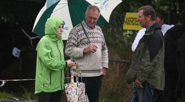 People take shelter from the inclement weather at Fermanagh Show