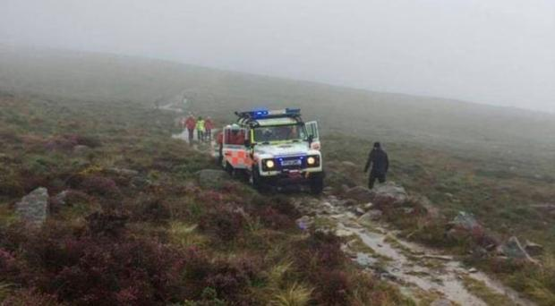 The scene in the Mournes yesterday as emergency services moved into rescue the ramblers