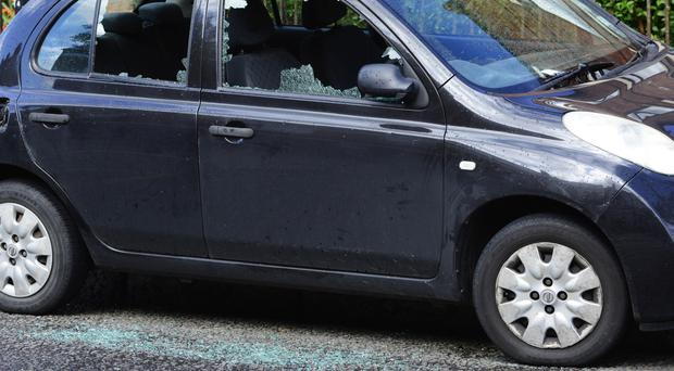 The damaged vehicles in north Belfast