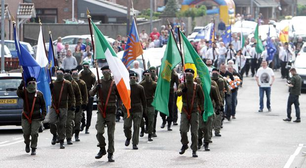 Dissident republicans parade through the Kilwilkie estate in Lurgan last year