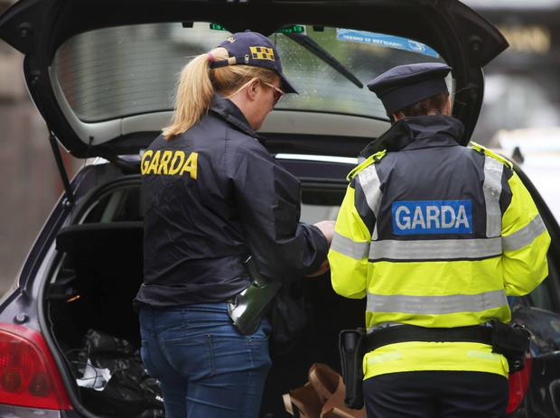 Armed gardai attended the scene of the protest