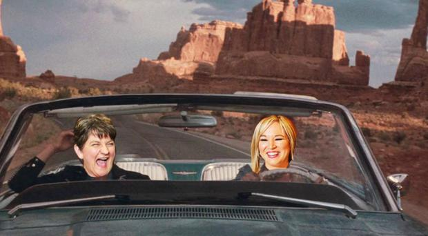 The play imagines Arlene Foster and Michelle O'Neill on a trip together, much like Thelma and Louise