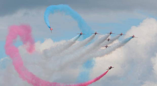 The Red Arrows perform their world-famous breathtaking aerobatic stunts