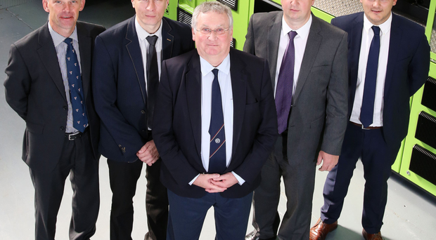 New recruits Warren Bell (left), Brian Kerr (second left) and Gareth Deering (far right) are welcomed to Denroy by John Rainey (centre) and John Irwin