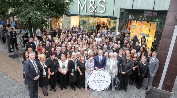 M&S staff outside the Donegall Place store in Belfast