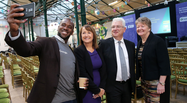 From left, Gori Yahaya, head of training at Google's Digital Garage, Ann McGregor, president of NI Chamber, Vincent Harrison, managing director of sponsor Dublin Airport, and Chamber president Ellvena Graham