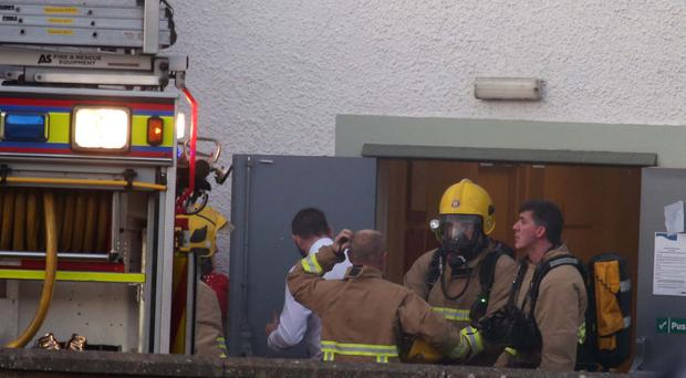 Firefighters at the scene of the fire at the Marine Hotel in Ballycastle
