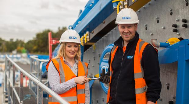 Catherine Keenan, company solicitor and manager at Creagh Concrete Products Limited, Northern Ireland, and Kieran McGurk, assembly technician at CDE