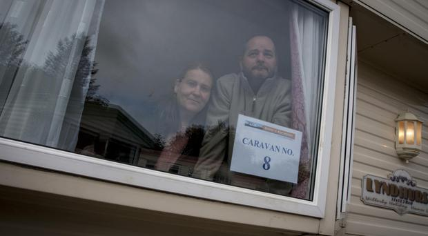 Keith and Carol O'Hara in their temporary home at St Canice's Park, Eglinton
