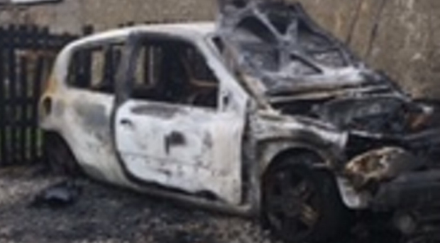 The car targeted for arson in the Co Tyrone town over the weekend
