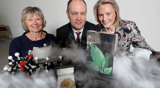 From left: Dr Jane Wilde of the Hans Sloane Memorial Fund; Stephen Barr of Almac Sciences, and Laura McCorry of National Museums NI