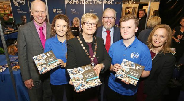 From left: Belfast Met chairman Frank Bryan; student Katie Clarke; Belfast Deputy Lord Mayor Sonia Copeland; college director of development Damian Duffy; student Ben Bailey, and Dr Deirdre Hughes