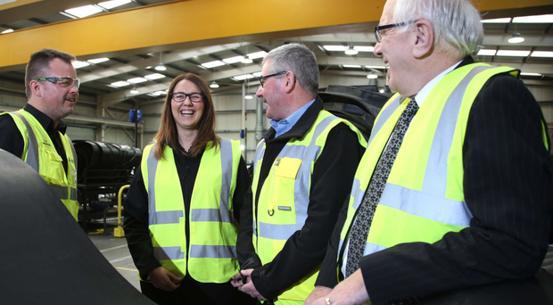 From left: Smiley Monroe marketing director Tim Monroe, HR and people development specialist Jayne Peters, the company's head of operations Wesley McAvory and Allan Ewart of Lisburn and Castlereagh City Council