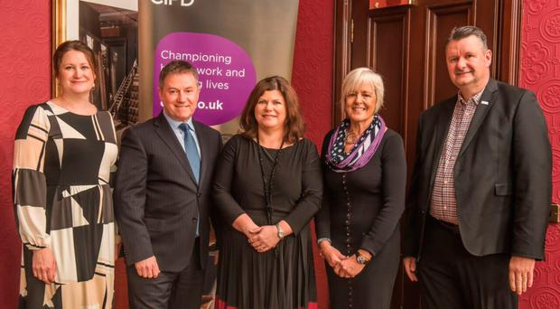From left, Deborah McConnell, head of workplace at Business in the Community and Gordon Milligan, BITC, Beth McMaw, Lynn Carson and John McGurk, all from CIPD