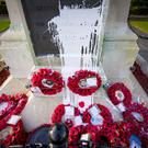 Councillors have condemned an attack on Larne War Memorial, on the town's Inver Road, which was splattered with paint