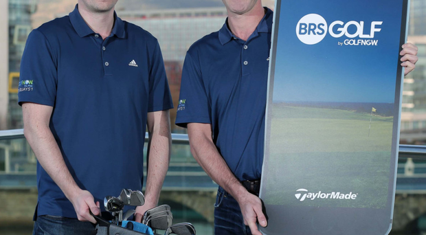 GolfNow's Owen Stewart and Stephen McParland launch the new BRS Golf member app in Belfast